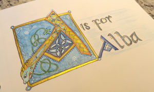 A-is-for-Alba illuminated letter art journal card